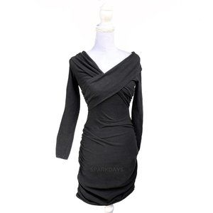 ❤️ Black Long Sleeve V-neck Sweater Midi Dress S